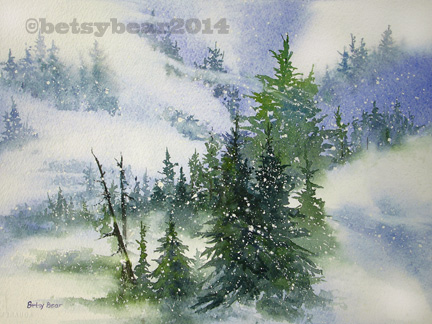 Snow Mountains watercolor