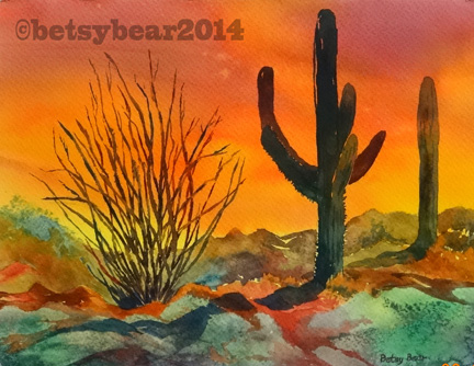 Cactus Sunset watercolor