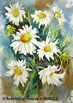 daisies watercolor