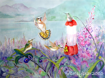 watercolor painting - humming birds at Excursion Inlet
