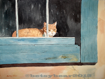 Post Office cat watercolor