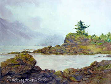 Excursion Inlet watercolor - Rocky Point